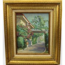 Signed 20th C. impressionist Painting of a Villa