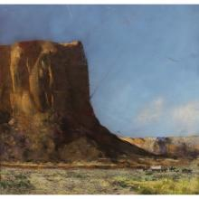 Early 20th C. Western landscape with Figures