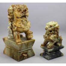 (2) Ornately Carved Soapstone Foo Dogs