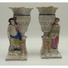 Pr. English Leedsware/Prattware Figural Vases