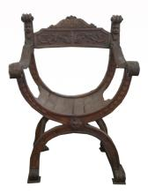 Antique Gothic Style Carved Armchair