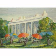 Oil/Board 'Mount Vernon Party w/ Umbrellas'