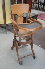 Antique Oak High Chair Stroller