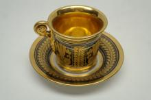 Antique French Gilt Porcelain Cup & Saucer