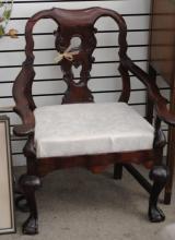 European Carved Ball & Claw 19th C. Arm Chair