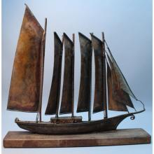 20th C. Bronze Ship Model on Stand