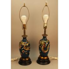 Pair of Antique Chinese Cloisonne Dragon Lamps