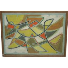 French Abstract Oil by James Pichette 1956