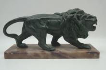 Antique Bronze Lion on Marble Base