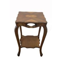 Antique Carved & Wood Inlaid Side Table