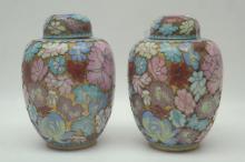 Vintage Pair Cloisonne Ginger Jars