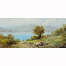 Antique Signed Oil/Board Italian Landscape