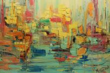 Signed modern abstract harbor scene