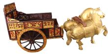 Antique Gilt Carved Chinese Carriage w/ Horses