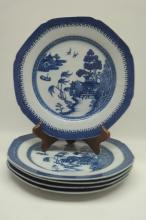 19th Century Chinese Blue & White Porcelain Plates