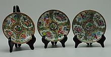Antique Chinese Rose Medallion Porcelain Saucers