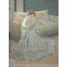 1919 Monogrammed Woman Sitting on Couch Pastel