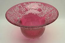 D. Berkheimer Cranberry Art Glass Center Bowl