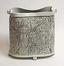 MARIA GAKOVIC - Untitled (Ceramic container with drawings)