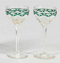 Paar Jugendstil-Glaspokale