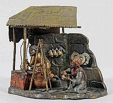 Seltene Skulpturen-Tischlampe mit Wiener Bronze-Gruppe