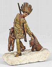 Außergewöhnliche Wiener Bronze Figurengruppe eines Indianers