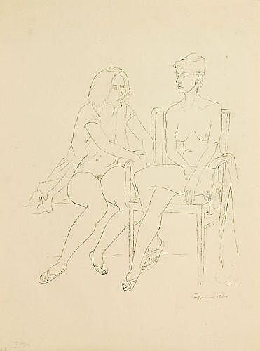Fritz Cremer, Zwei sitzende Akte. 1961.Lithograph