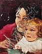 Jacoba Surie(zugeschr.), Mutter mit Kind beim Seifenblasenspiel. Wohl 1960's.
