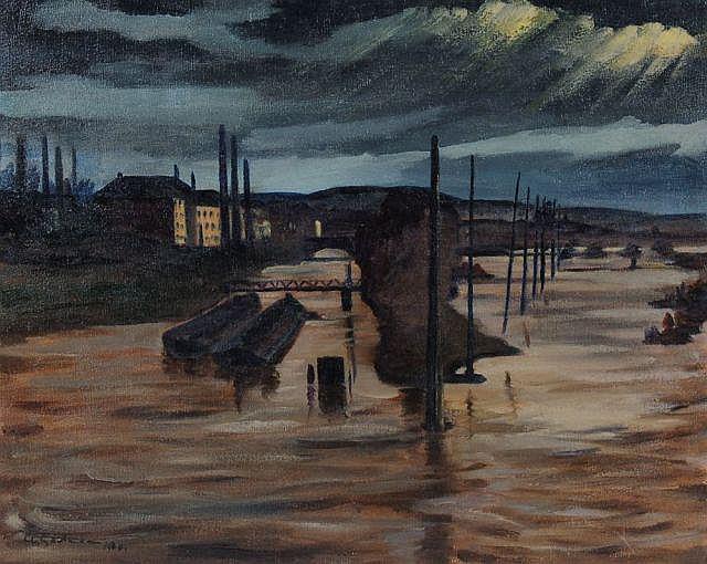 Albert Gartmann, Abendliche Flusslandschaft mit Lastkähnen. 1920.