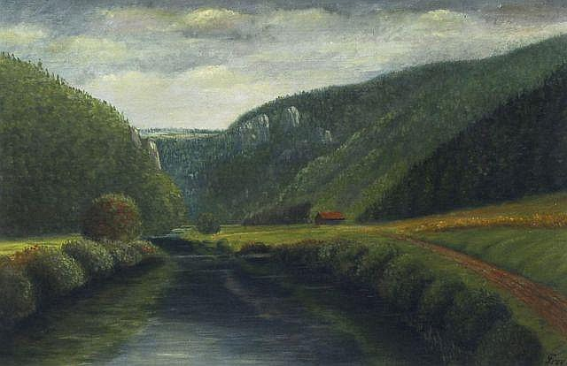 Otto Frey, Flußlandschaft. 1st half 20th cent.