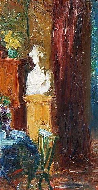 Franz Bunke(Umkreis ?), Interieur mit Büste. No date.