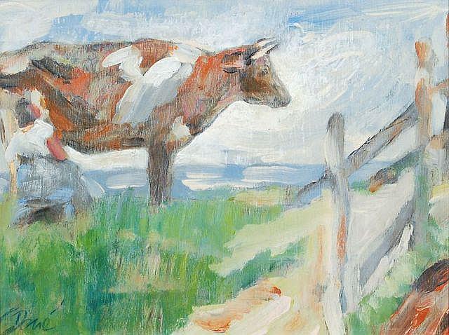 Claude Dené, Bäuerin, eine Kuh auf der Weide melkend. contemporary