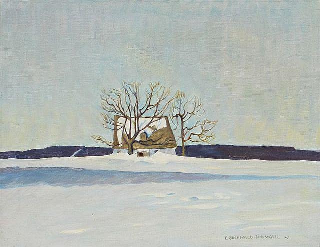 Erich Buchwald-Zinnwald, Einsames Haus im Schnee. 1943.