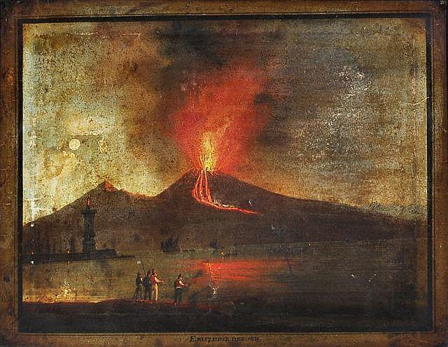Unbekannter Künstler, Der Ausbruch des Vesuvs im Jahr 1839. 19th cent.