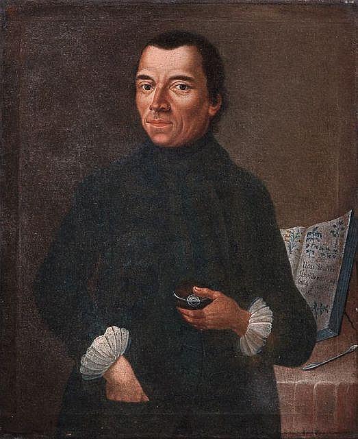 Unbekannter deutscher Künstler, Bildnis eines Apothekers mit Kräuterbuch. 18th cent.