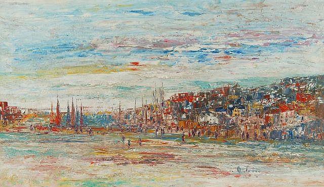 Otmar Antonio Janetschek (auch Janecek), Mediterrane Stadtlandschaft. Wohl 1960's.