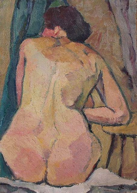Hans Jüchser, Sitzender weiblicher Rückenakt. Um 1930.