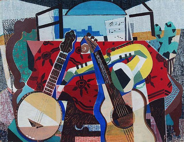 Herbert Behrens-Hangeler, Stilleben mit Gitarre. Um 1960.