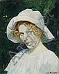 Eduard Kaempffer, Mädchen mit weißem Hut. Um 1900.