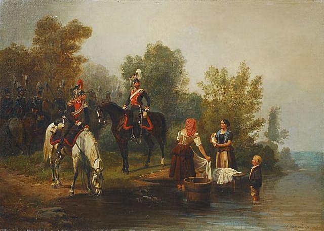 Wilhelm Alexander Meyerheim, Soldaten und Wäscherinnen am Fluss. 1847.