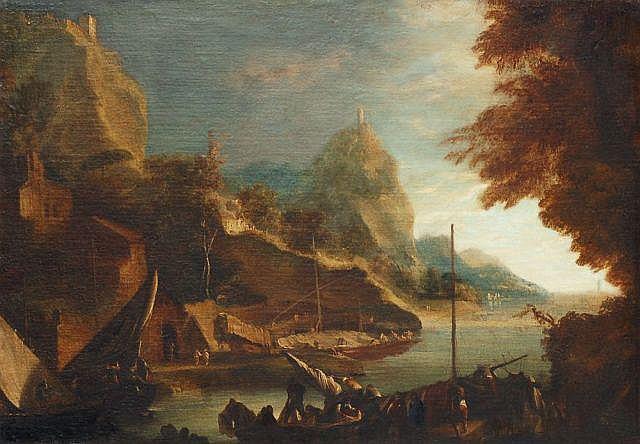 Marco Ricci(Nachfolge), Hafen in felsiger Landschaft. 18th cent.