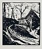 Walter Determann(zugeschr.), Landschaft mit Bauernhaus und Strommasten/ Hängebirke. 1920.