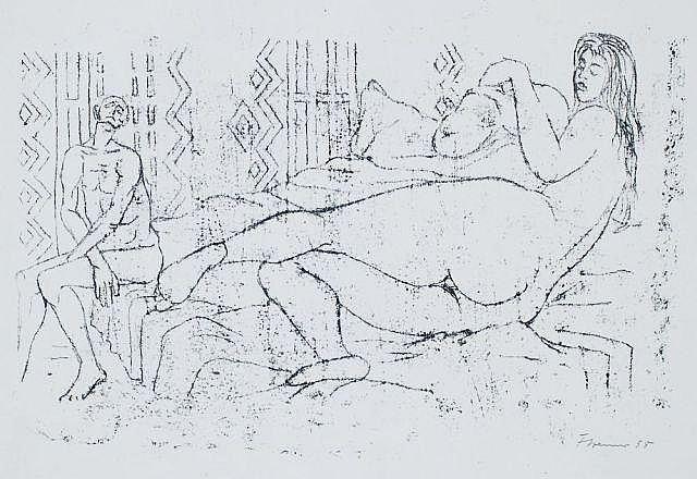 Fritz Cremer, Liegender weiblicher Akt von hinten. 1958.