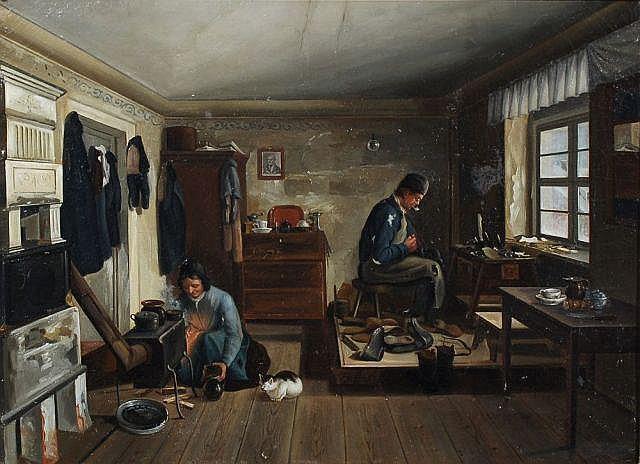 Julius Faber(?), Beim Schuhmacher. 1850.