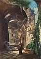 Unbekannter Künstler, Mönch vor einer Klosterruine. 19th cent.