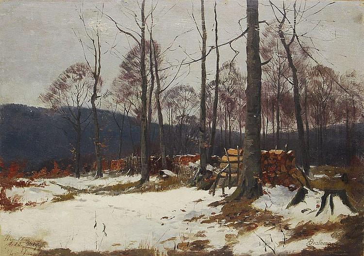 Johann Christopher (Christoffer) Drathmann, Winterlicher Holzschlagplatz im Wald. 1889.
