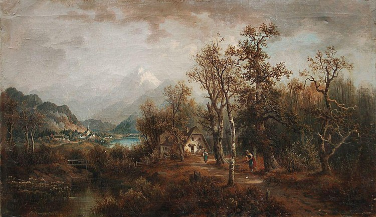 Josef Burgaritzky, Alpenlandschaft. 2nd half 19th cent.