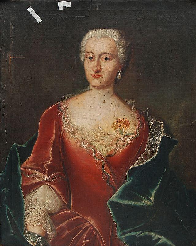 Unbekannter Künstler, Bildnis der Johanna Friedericka Lingke. Mid 18th cent.