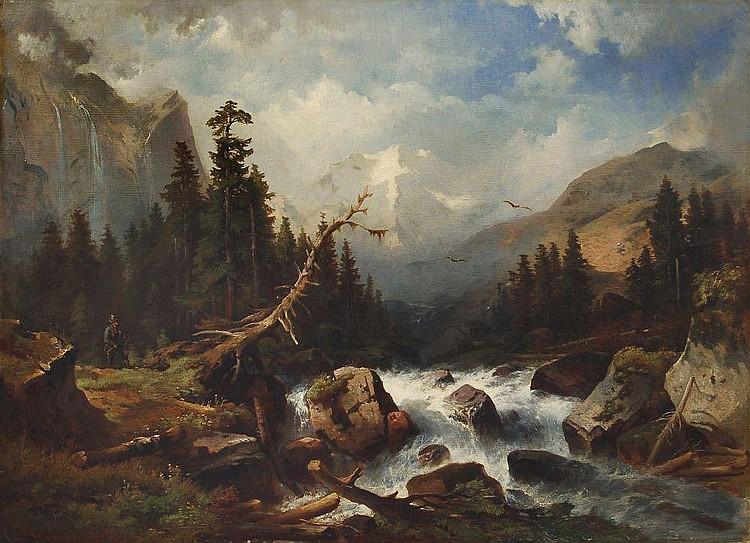 Karl Schweninger d.Ä., Jäger am Gebirgsbach. Wohl um 1850.