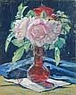Max Helas, Blumenstilleben mit blauem Tuch. Wohl 1920's.